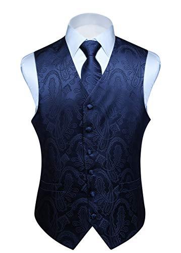 Hisdern Manner Paisley Floral Jacquard Weste & Krawatte und Einstecktuch Weste Anzug Set, Navy Blau, Gr.-M (Brust 44 Zoll)