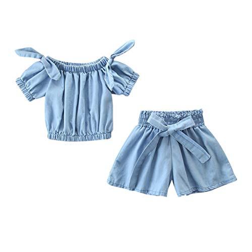 Baby Body Kinderkleidung Jungen Mädchen, YanHoo Kleinkind Kinder Baby Mädchen Outfits Kleidung Denim Schulterfreies Hemd Tops + Shorts Mädchen Denim Schulter 2 Stück