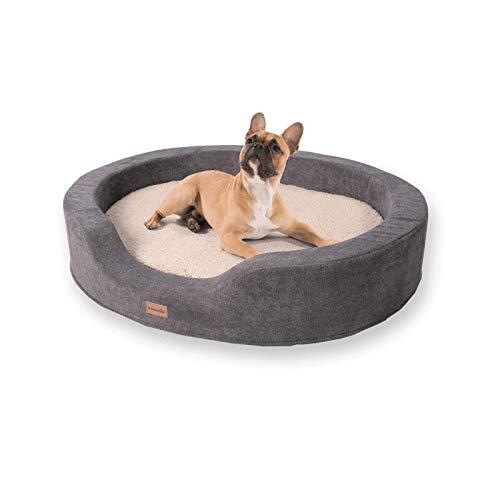 brunolie Lotte ovaler Hundekorb in Beige, waschbar, orthopädisch und rutschfest, kuscheliges Hundebett mit atmungsaktivem Memory-Schaum, Größe L 100 x 80 cm