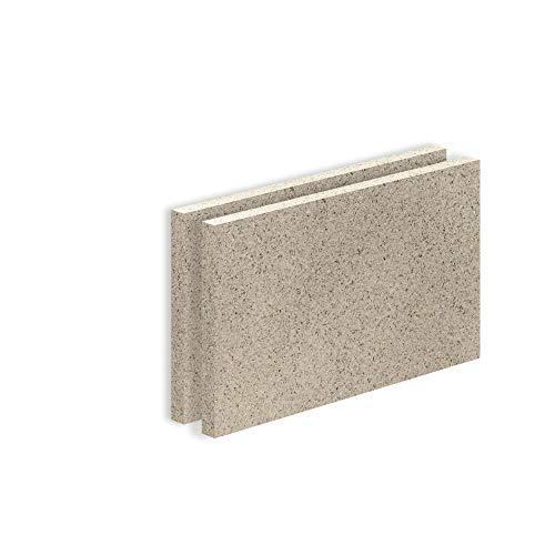 Vermiculite Platte Schamott-Ersatz für Kamin-Ofen Feuerraum Auskleidung SF600 500x300mm 30mm Stärke Temperaturbeständig bis 1100 °C mind. 600kg/m³ Rohdichte (x2)