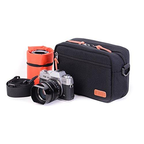 A-mode Small Camera Bag case Versipack Padded Shoulder Bag DSLR Case Insert for Sony Nikon Canon (Black)