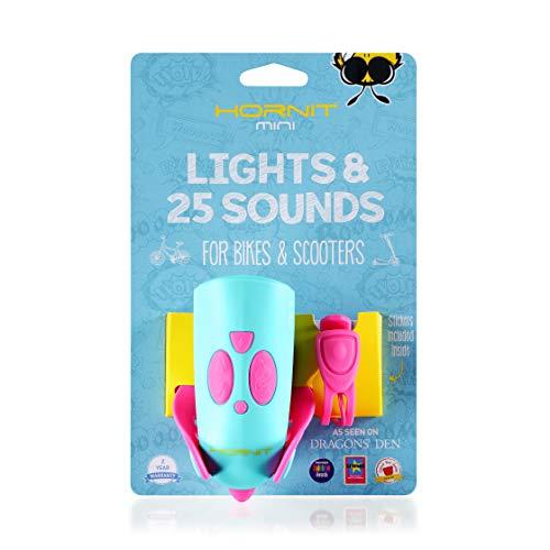Hornit Mini Pink / Türkis Fahrradklingel Fahrradhupe Signalhorn mit Licht für Kinder - 25 Soundeffekte und 5 Lichteffekte - Fahrradglocke