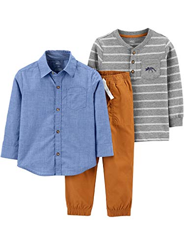 Simple Joys by Carter's 3-Piece Playwear Infant-and-Toddler-Clothing-Sets, Chambray, 12 Months, 3er-Pack