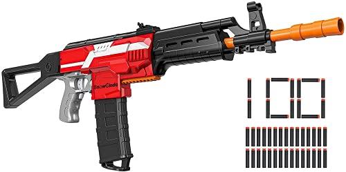 Elektrische Spielzeug Pistole für Nerf Gun Pfeilen, Automatische Blaster mit 100 Munition, 3 Modi Schuss Nerf Gun Eelektrisch, USB Aufladbares 12 Schuss Magazin, Outdoor Spiel Geschenk Junge ab 6