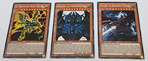 YU-Gi-Oh! Lot des 3 Dieux Egyptiens : Obelisk Le Tourmenteur + Slifer, Le Dragon Céleste + Le Dragon Ailé de Ra : TN19-FR007/8/9 -VF/Secret Rare Prismatique-