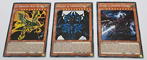 YU-Gi-Oh! Lot des 3 Dieux Egyptiens : Obelisk Le Tourmenteur + Slifer, Le Dragon Céleste + Le Dragon Ailé de Ra : TN19-FR007/8/9 -VF/Secret Rare Prismatique-