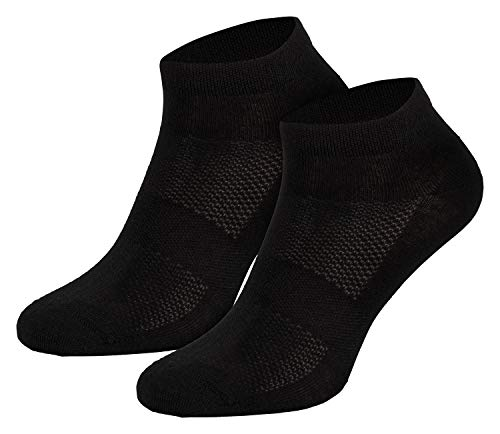 Piarini 3 Paar Merino Socken Herren Damen - Sneakersocken aus Merinowolle - Atmungsaktive Sportsocken Laufsocken Schwarz 43 44 45 46