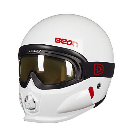 Combinaison casque demi-casque rétro Harley homme et femme avec lunettes anti-buée (taille : M(57-58cm))