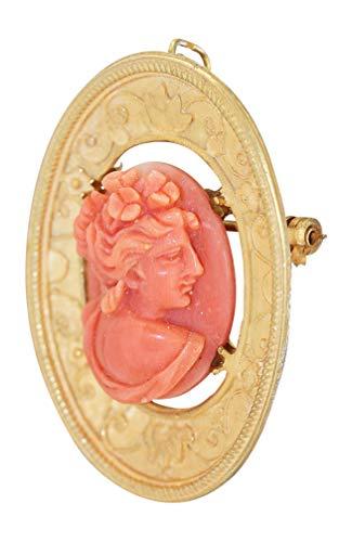 Hobra-Gold Anhänger Gold 750 oder Brosche Koralle geschnitzt traumhaft schöne Goldbrosche