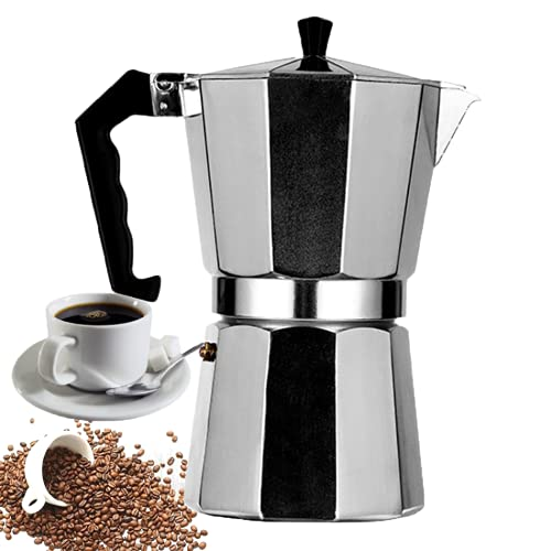 KaiKBax Cafetera italiana de acero inoxidable con filtro reutilizable – Moka Pot Cafetera Tetera Tetera Tetera para el hogar y la oficina 6 tazas