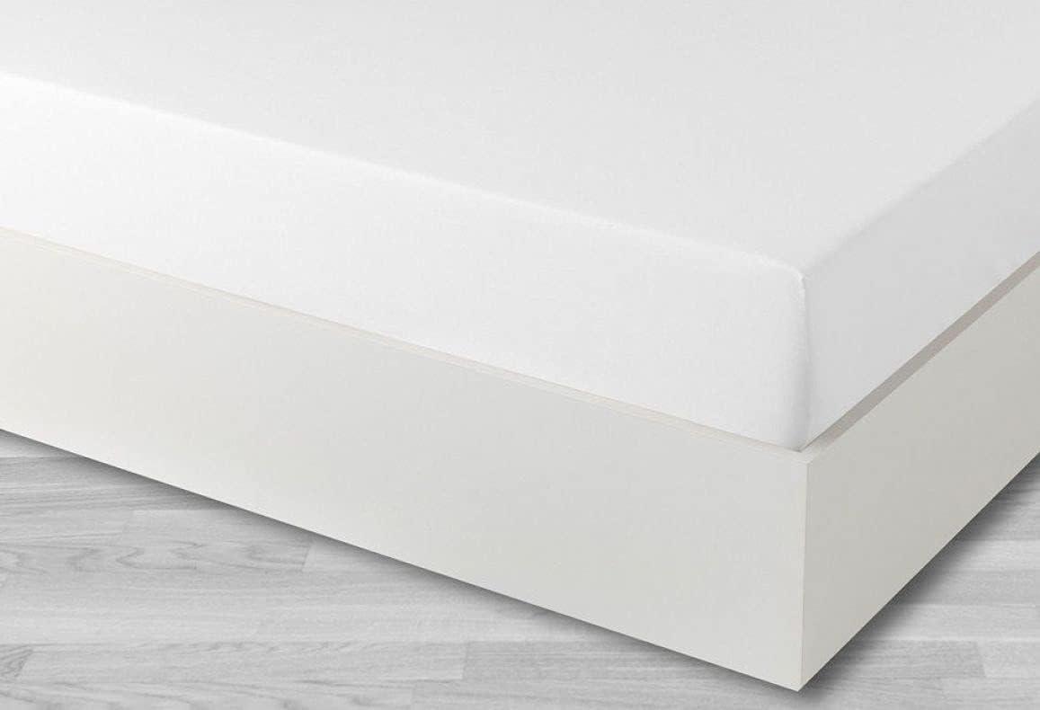 Sabana Bajera Ajustable - Tacto Super Suave- Calidad Extra - Fácil Planchado - Grosor colchón hasta 30 cm - 60% Algodón 40% Poliester (Blanco, 150x190/200 cm)