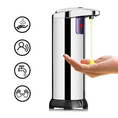 Seifenspender Automatisch, KIPIDA Infrarot Seifenspender Edelstahl Sensor Moderner Touchless Seifenspender mit Wasserdichter Basis für Bad, Küche und Büro Elektrischer Seifenspender 250ML Silber