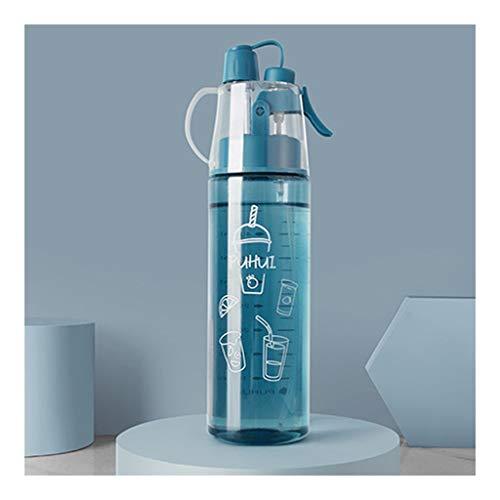 LMG Botella de agua con aerosol, sin BPA, botella de 400 ml/550 ml, botella deportiva a prueba de fugas, para gimnasio, escalada, senderismo al aire libre (color: azul, tamaño: 400 ml)