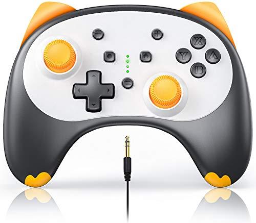 Vivefox Switch Lite Controller, Wireless Pro Controller für Switch Switch Lite Cartoon Kitten Switch Gamepad unterstützt Wake-up, Turbo, Gyro Achse, Dual Shock und Audio Jack Blathers