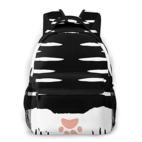 Calcetines de pata de gato negro y blanco causal mochila vintage universidad...
