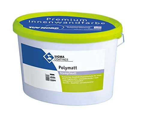SIGMA Polymatt 12,5L weiss, Hochwertige, doppeldeckende Kunststoffdispersionsfarbe für innen. Raumlufthygienisch einwandfrei durch lösemittel- und weichmacherfreie Formulierung, emissionsarm und schadstoffgeprüft (TÜV-Nord und WKI Fraunhofer)
