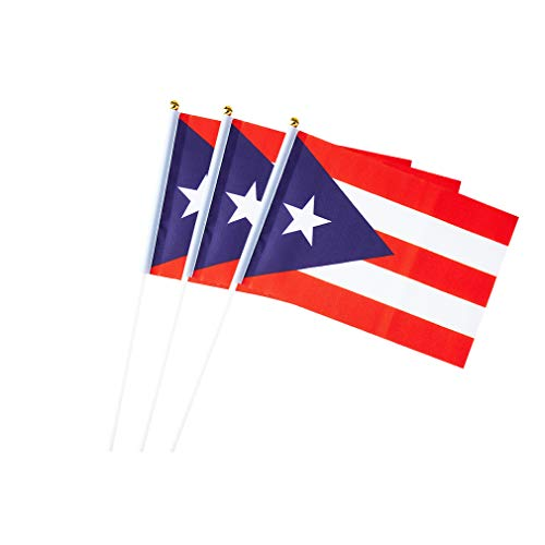 Puerto Rico Flag Puerto Rican Hand Held Small Stick Mini Flags for Sport Parade Party Olympic Festival Decorations 1 Dozen (12 pack)