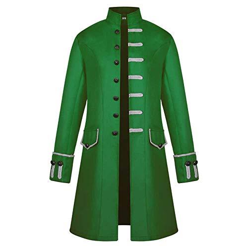 PPangUDing Herren Vintage Steampunk Frack Jacke Gothic Viktorianischen Mittelalter Gehrock Outwear, Retro Stehkragen Einreiher Langer Einfarbig Graben Mantel Militäruniform Uniform Cosplay Kostüm
