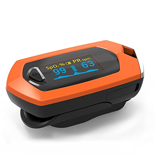 GSDJU Oximetro Dedo Con Saturacion Oxigeno Medidor De En Sangre Oxigenometro Aparato Para Medir SaturacióN Pulxiometro Saturador Oxiometros Profesional Pulsioximetro naranja