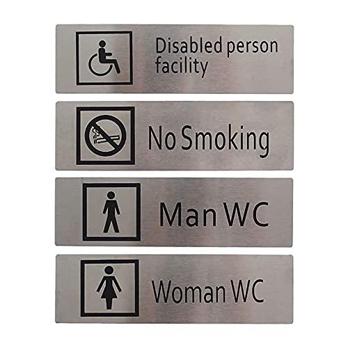 Targhette WC Autoadesive in Alluminio (5 x 17 cm), Set 4 Pittogrammi: Uomo + Donna + Disabili + Divieto di Fumare, Ad Uso Decorativo e Segnaletico per Bagno, Toilette e Ufficio (Rettangolare)