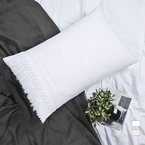 YINFUNG Tassel Pillow Shams Boho King Macrame White Pillowcase Fringe Set of 2 Cute Elegant Crochet Tufted Pretty 100% Cotton Romantic 20x36 Large Pillow Cover