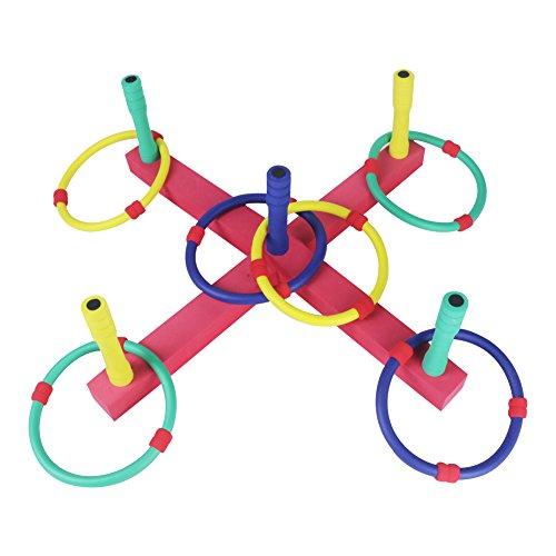 Juegos Jardin Ring Toss Set Lanzamiento de Anillos Deporte Niño Juguete de Exterior o Interior, Colores Esponja Anillos para Niños y Adultos