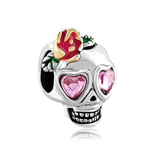 QueenCharms Dia De Los Muertos Pink Crystal Skull Charm Beads for Bracelets