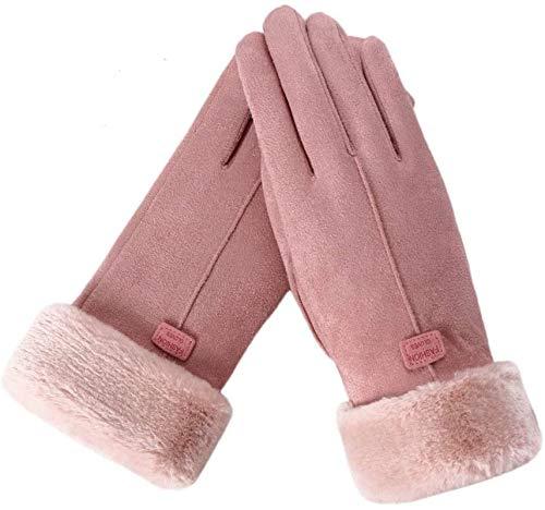 FINGER TEN Guanti da Donna Invernali Touchscreen GuantiPelle di Camoscio Morbido Pile Termico Lavoro Running Driving (Pink)