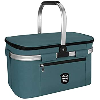 UPBOXN Insulated Cooler Bag Picnic Basket 26L Leakproof Collapsible Portable Cooler Grocery Bag Picnic kit with Aluminium Handle for Travel Shopping Camping Music Festival Oktoberfest Navy