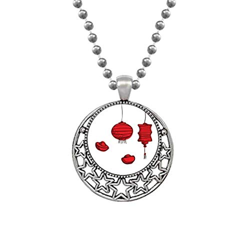CAOHD Linternas rojas Año Chino del Gallo Collares Colgante Retro Luna Estrellas Joyería