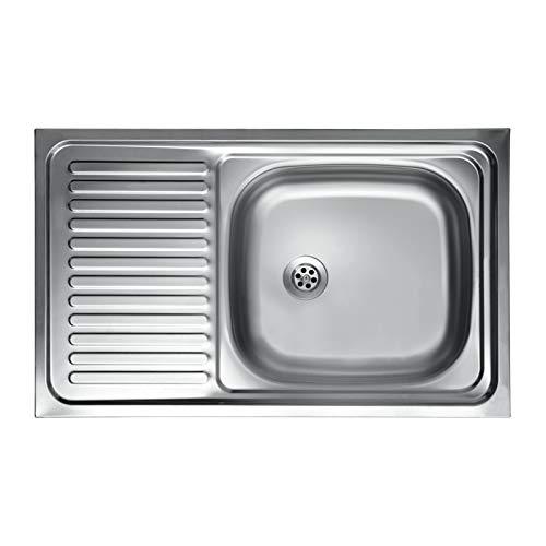we point Lavello Cucina Vasca con Gocciolatoio SX in Acciaio da Appoggio 50x80 Cm