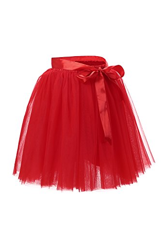 Babyonline® Damen Prinzessin Falten Rock Vintage Kleid Spitzen Rock Midirock Ballettrock Tüllrock Unterrock Knielang, Rot, One Size / Einheitsgröße