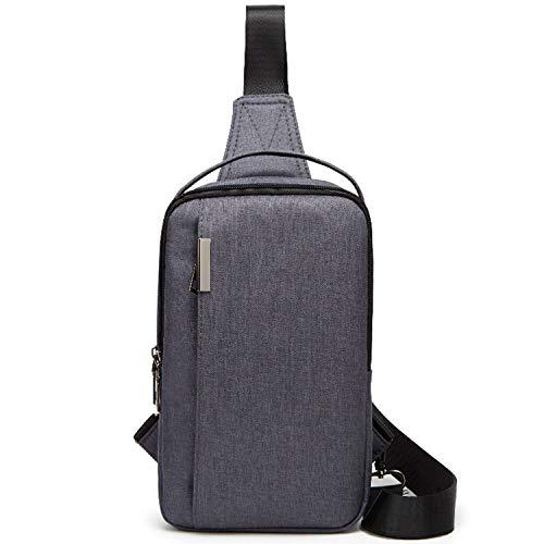 ボディバッグ (エコ.キュー) Echo.Q メンズ ワンショルダー 斜め掛け 軽量 スポーツバッグ 撥水 ナイロン バッグ ショルダーバッグ iPadmini収納可 (グレー)