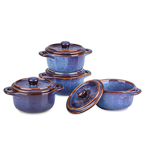 VANCASSO Ceramic Ramekins with Lid, Souffle Dish, Mini Round Casserole Dish, 6 Ounces Soup Dishes, Porcelain Ramekins Set of 4, Blue