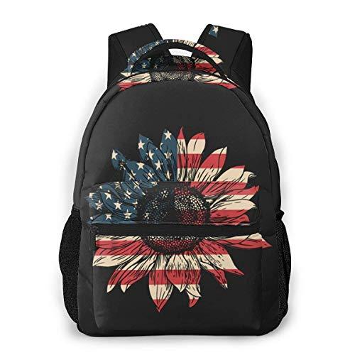 Mochilas para niños, con bandera de girasol, patriótica, impermeable, para portátil, para mujer, casual, mochila escolar, mochila de viaje para niños y niñas
