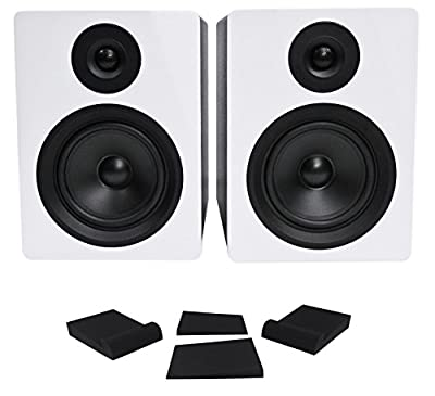 "Pair Rockville APM5W 5.25"" 2-Way 250W Powered USB Studio Monitor Speakers+Pads by Rockville"