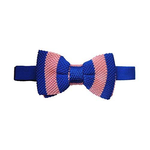 Tyler & Tyler. Noeud papillon tricot. Gentleman club, Soie. Bleu, Club/rayé. Fabriqué en Italie.