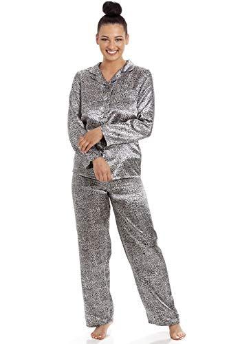 Camille Pijama de Leopardo de satén de Manga Larga para Mujer 40 Snow Leopard