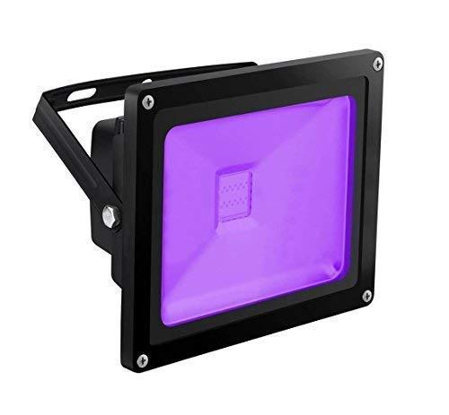 UV LED Black Light, HouLight High Power 20W LED Blacklight Flood Light IP65-Waterproof (85V-265V AC) for Halloween, Blacklight Party, Neon Glow, Glow in The Dark, Birthdays, Blacklights, Curing