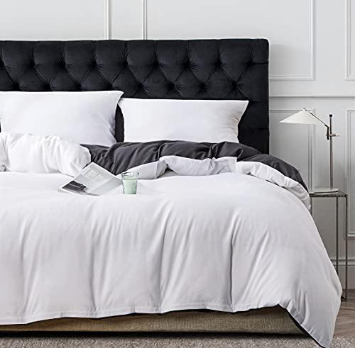 Damier Ropa de cama de 200 x 200 cm, color gris y blanco, microfibra supersuave, juego de ropa de...