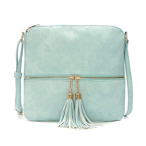 DukeTea Medium Crossbody Bags for Women, Tassel Crossover Purse for Teen Girls Handbag Gift Sky Blue