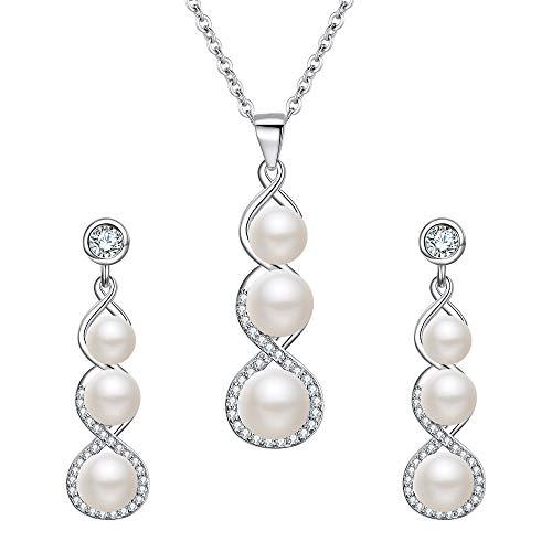 EVER FAITH Damen Schmuckset Kristall Simulierte Perle Hochzeit 8-förmige Unendlichkeit Halskette Ohrringe Set Creme Silber-Ton