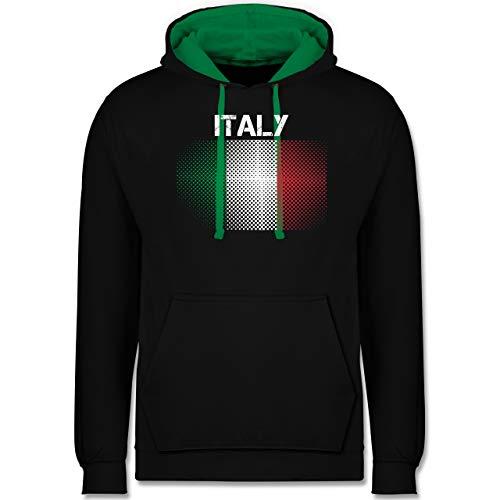 Shirtracer Länder - Italy Flagge - S - Schwarz/Grün - Pullover Italien Herren - JH003 - Hoodie zweifarbig und Kapuzenpullover für Herren und Damen