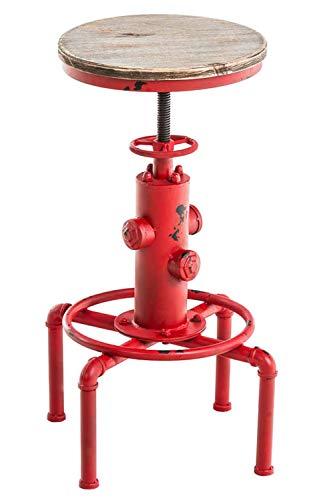 CLP Taburete Industrial Lumos con Asiento De Madera I Taburete Alto Retro con Forma De Hidrante I Taburete De Bar Regulable En Altura I Color: Rojo