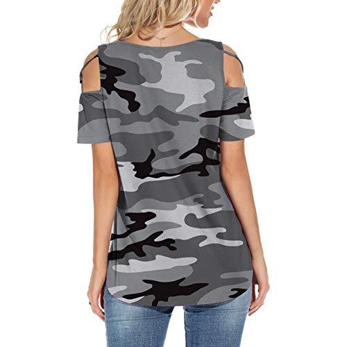 Yowablo Tops Pullover Damen Mode O-Ausschnitt Camouflage Printed Short Sleeve Casual ( XL,5grau )