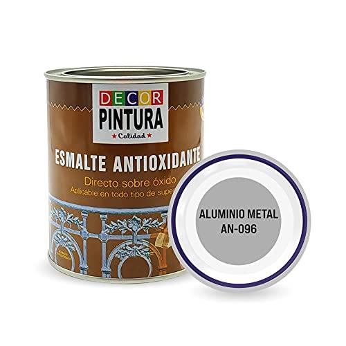 Pintura color Aluminio metal Antioxidante Exterior para Metal minio Pinturas Esmalte Antioxido para galvanizado, hierro, forja, barandilla, chapa para interiores y exteriores - Lata 750ml