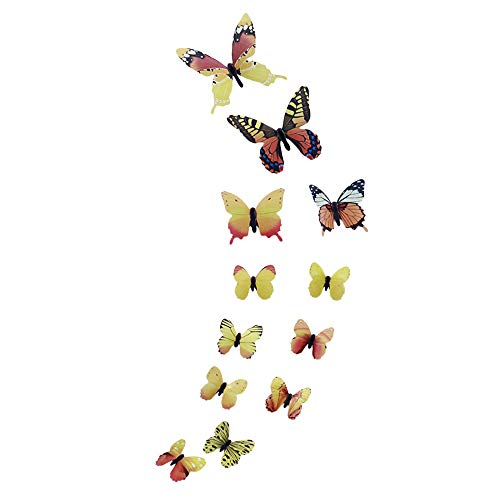 Janly Clearance Sale 12pcs Luminous Butterfly Design Decal Art Wall Stickers Room Magnetic Decor YE , Home Decor for Easter Day (Yellow)