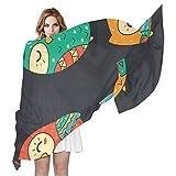 LORONA Bufanda de búhos coloridos para mujer, con sensación de seda,...