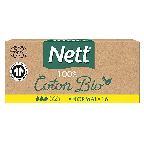 Nett Coton Bio Tampon sans Applicateur, Normal, Boite de 16 Tampons
