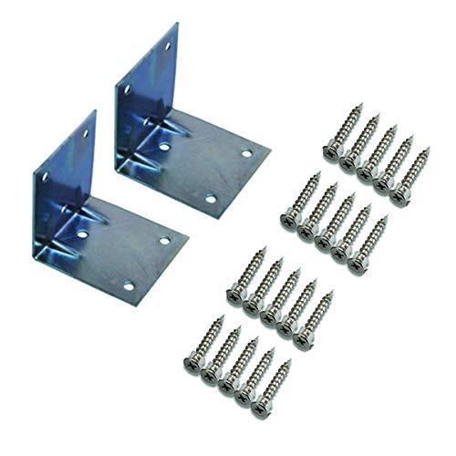Soportes de ángulo recto de 90 grados de acero galvanizado – Soportes de esquina en forma de L – Soportes de soporte de estante galvanizado para fijación de muebles, paquete de 2 (10 agujeros)